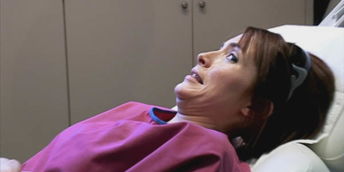 Filmmaker Lisa Rogers getting a pelvic exam during  filming of her documentary, The Perfect Vagina.