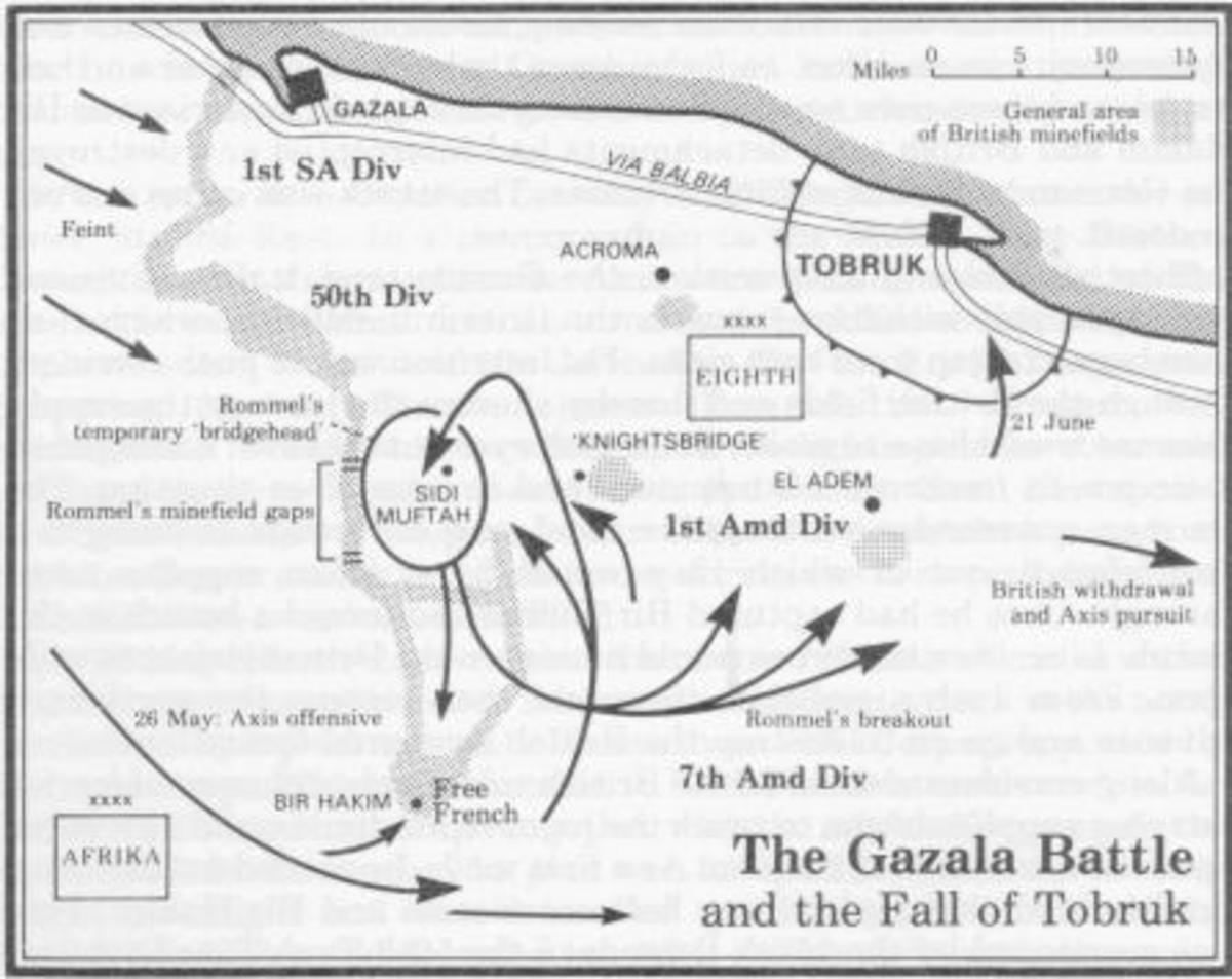 Map Showing Battle of Gazala