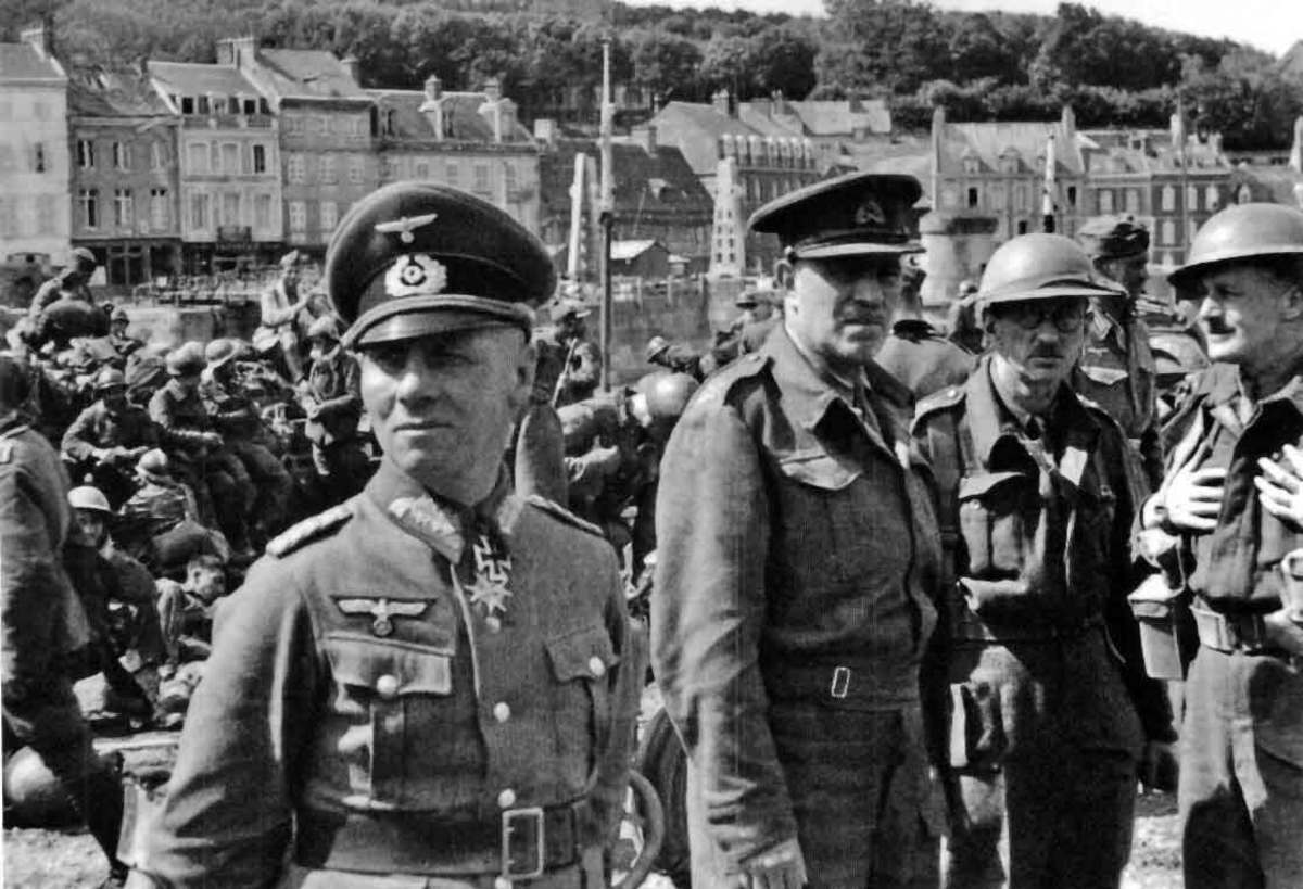 Erwin Rommel with Surrendered Major General Sir V M Fortune, Commander of the 51st Highland Division at St Valery, June 1940