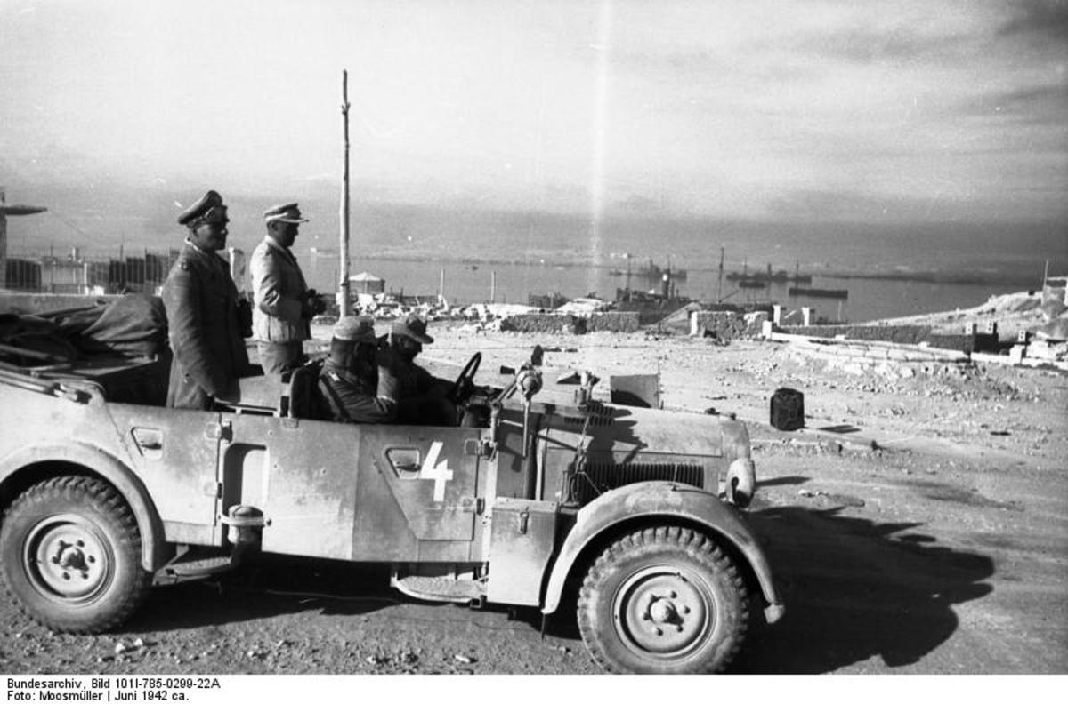 Rommel at the port of Tobruk