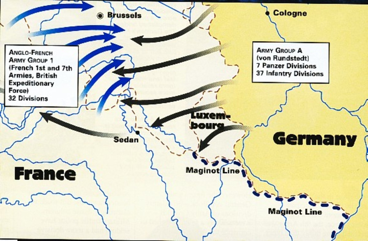 German And French Lines of Action, Western Europe,1939.