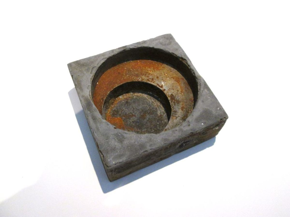 Cast resin iron Plant Saucer dish or abstact art sculpture, or door stop or candle holder