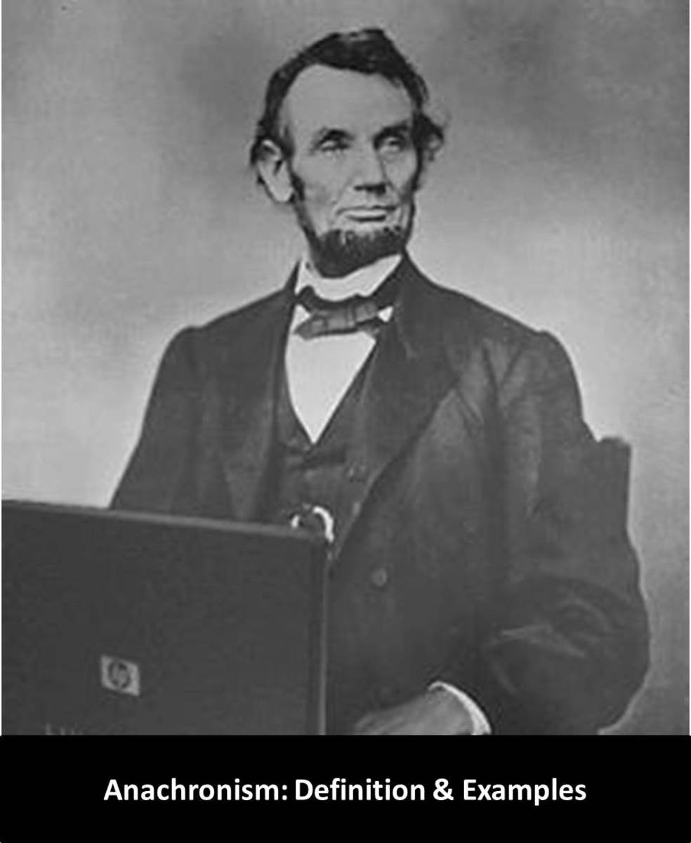 In this picture, Abraham Lincoln is working on a Laptop. Laptop was an unknown thing in the age of Lincoln. Hence, it is an anachronism.