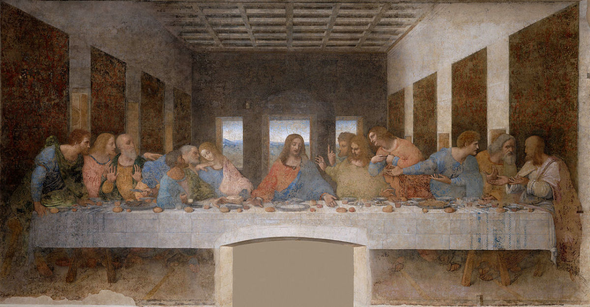Leonardo da Vinci's The Last Supper shows us a table which was not in vogue at the time of The Last Supper. Hence, it is anachronism.