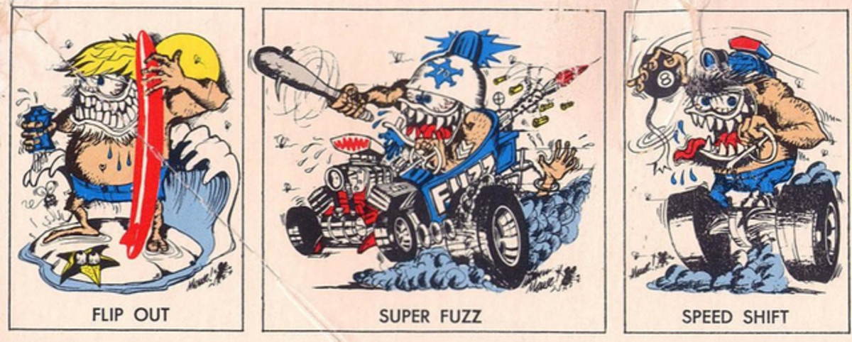 "Side Panel from the Monogram Model Box Which Features Images of All Three Monogram Model Kits  ""Flip Out"", ""Super Fuzz"" and ""Speed Shift""."