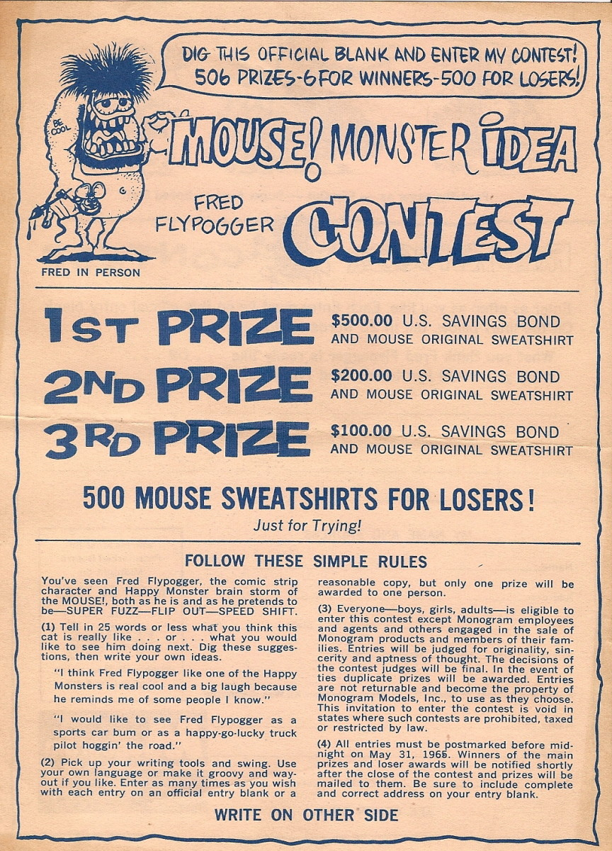 Fred Flypogger Monster Idea Contest Sheet Front (1965) Monogram Models