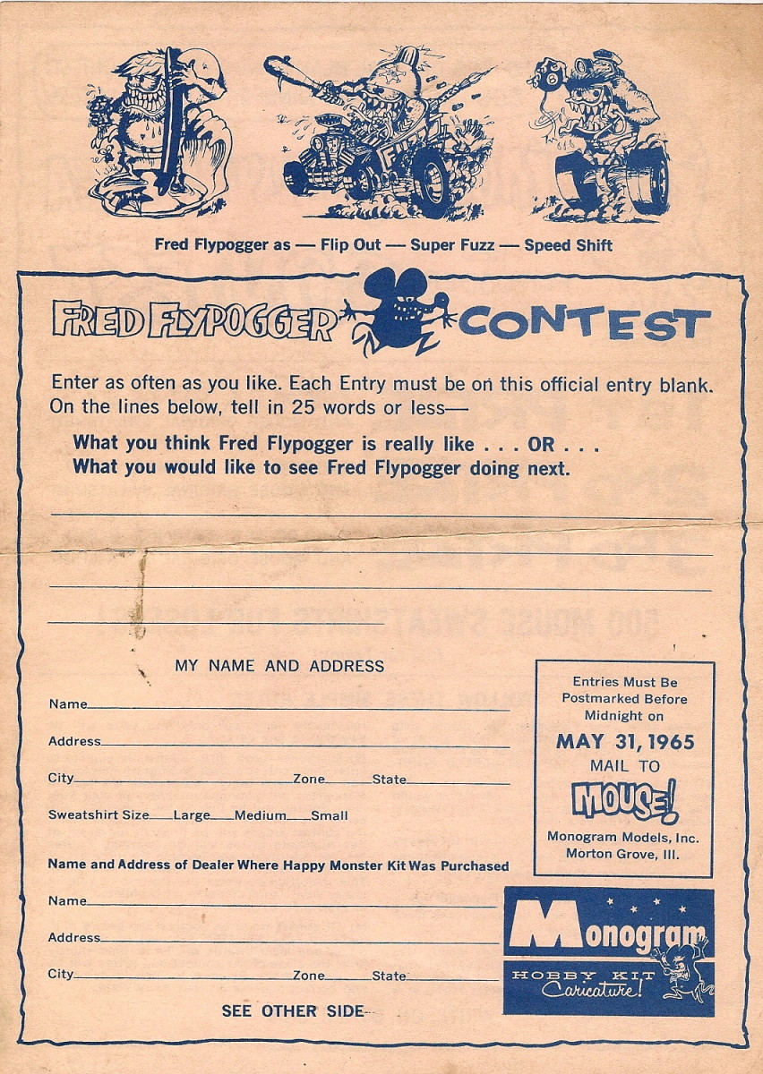 Mouse Fred Flypogger Monster Idea Contest Sheet (1965) Back
