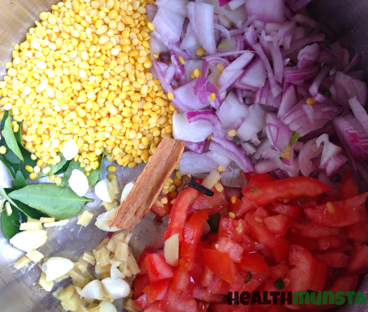 Put all the chopped ingredients into a cooking pot.