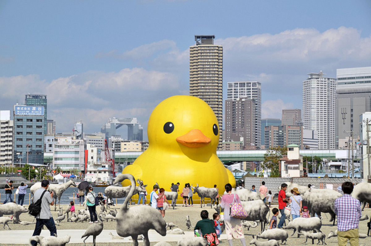 Giant Duck at Nakanoshima Island Osaka Japan