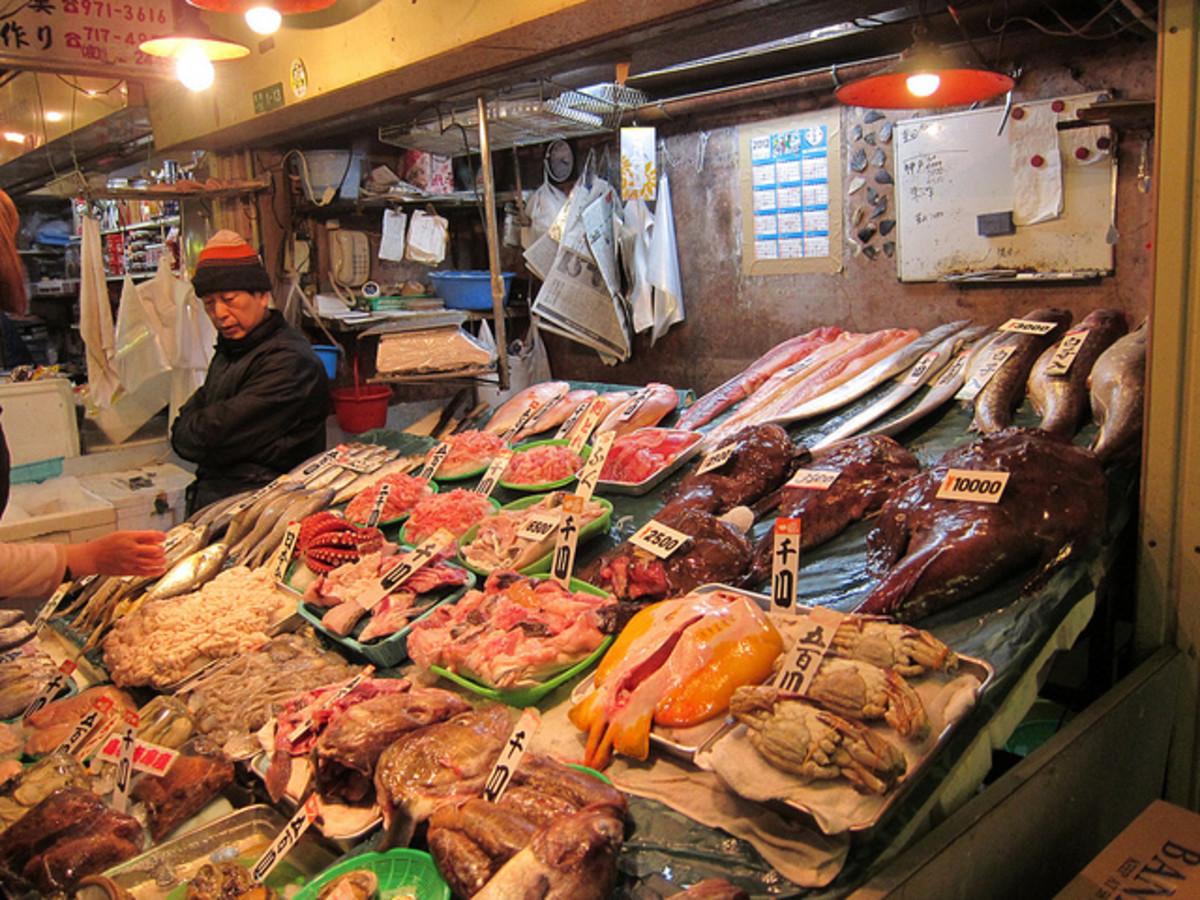Korea town seafood market Miyuki Dori Osaka Japan