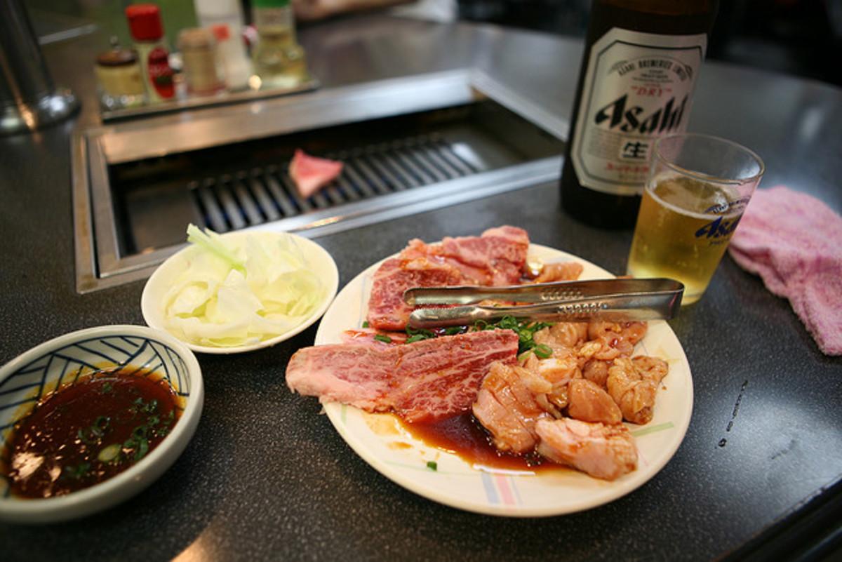 Yakiniku and Asahi Beer Japan