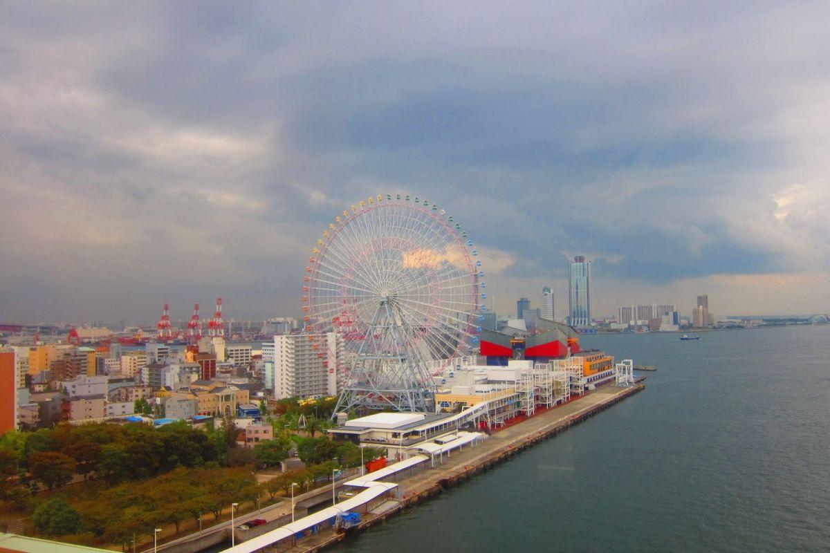 Tempozan Osaka Aquarium Kaiyukan and Cosmo Tower Osaka Japan