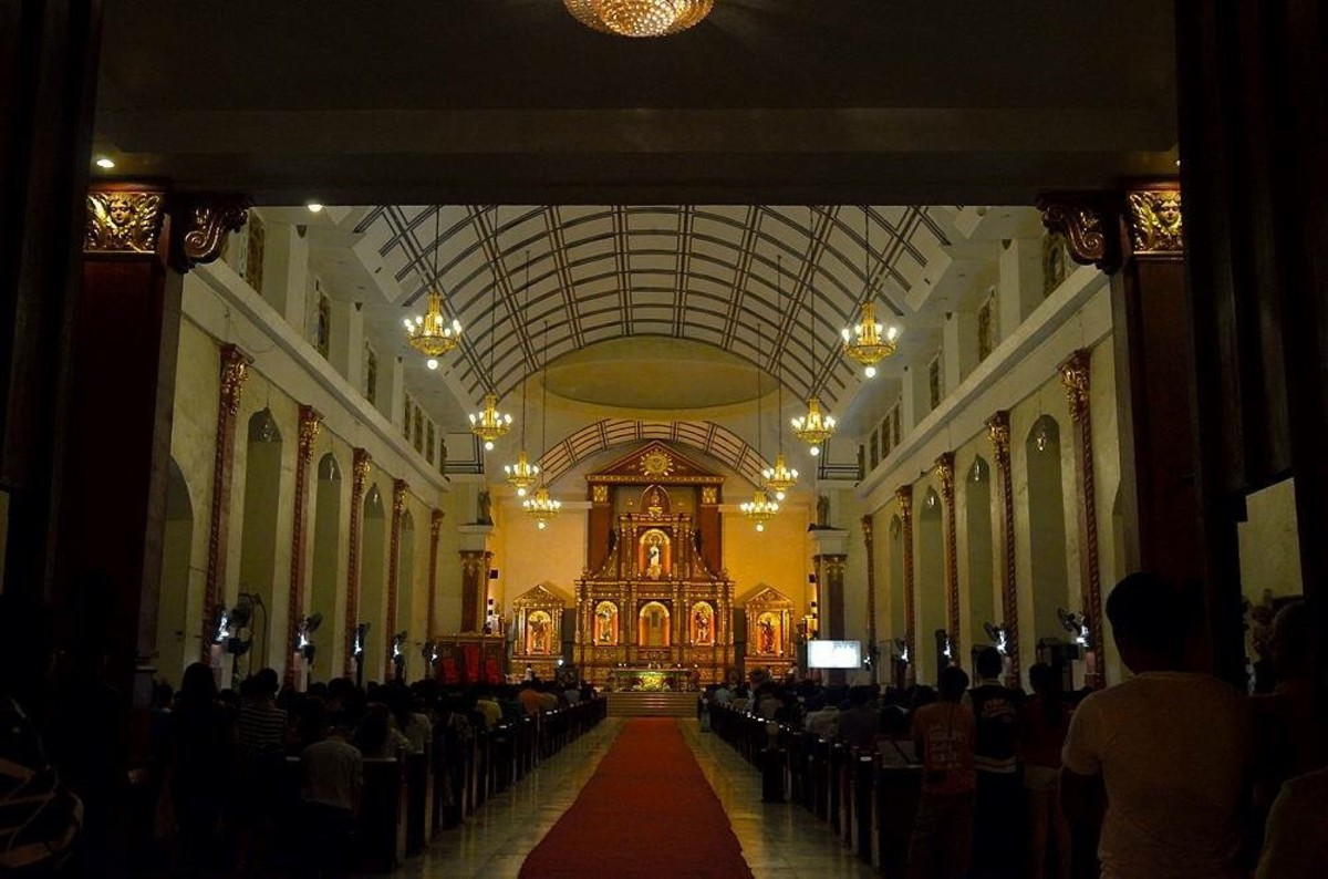 Inside the Roxas City Cathedral during a mass