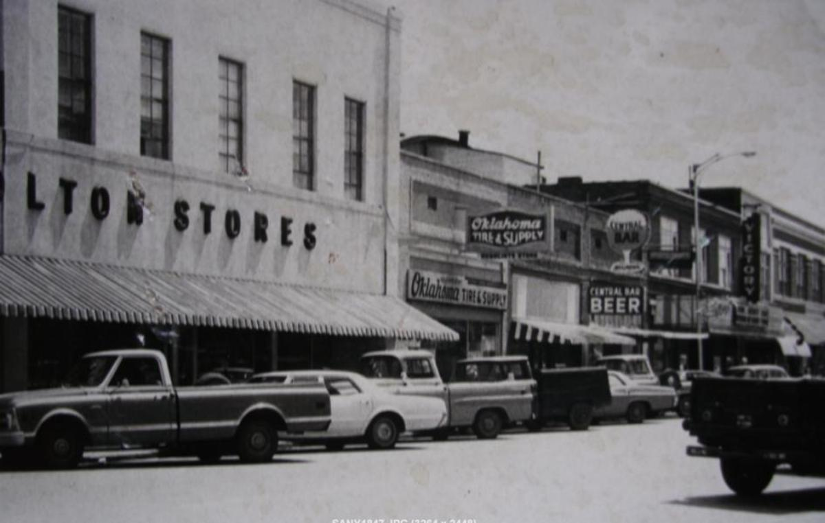 This photo of the Victory Theater area in Poteau was taken in the mid-1970's.
