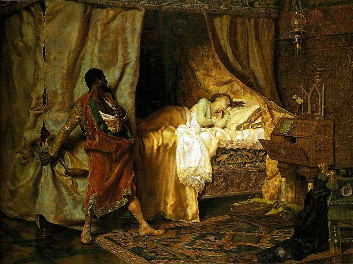Picture by Antonio Muñoz Degrain, Othello about to murder his wife after supposing an affair.