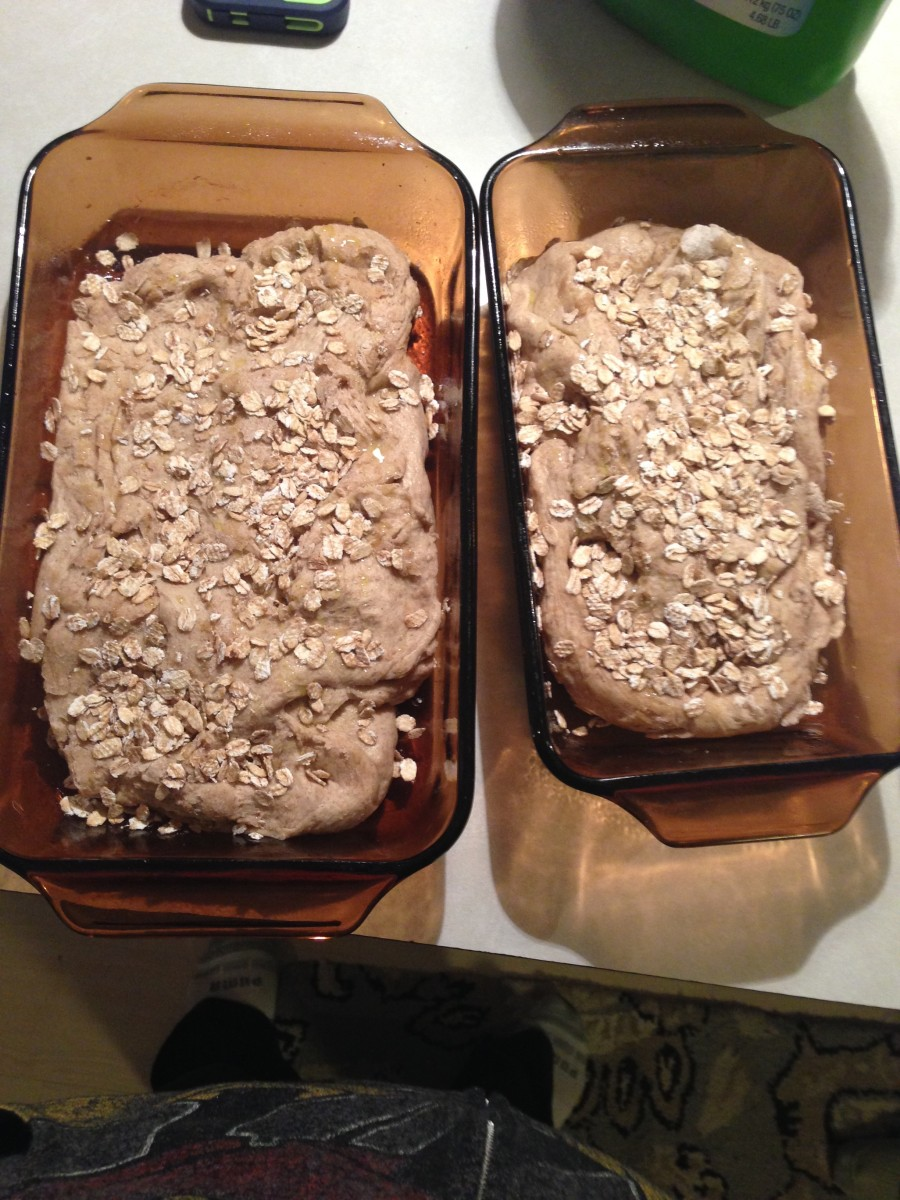 Whole wheat quick bread with oats sprinkled on top.
