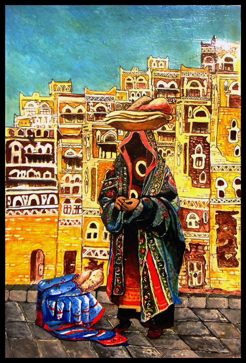 The Sana'ani Sitarah with its other accessories in arts in Yemen - Artist Muhammad M. Shaikh