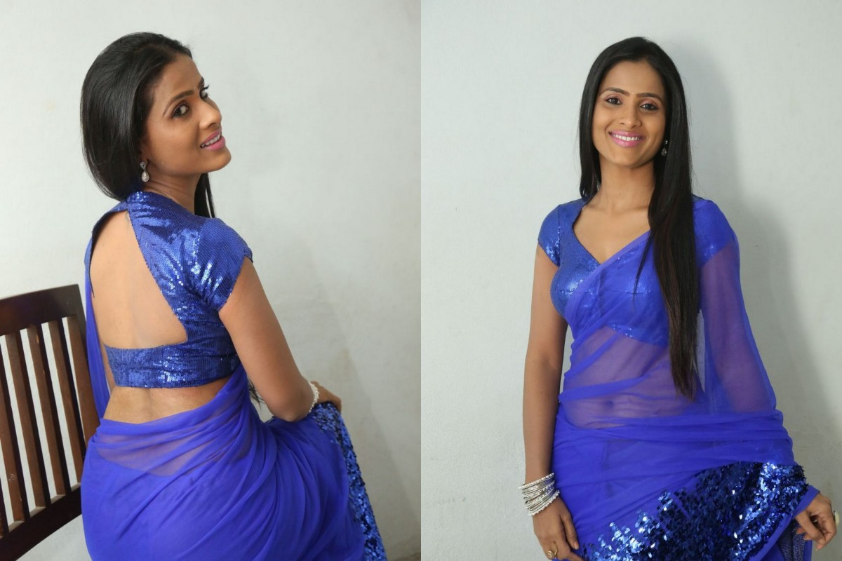 Indigo coloured saree with sequins work with big backless blouse