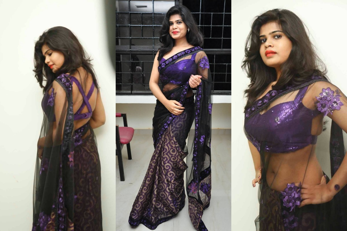 Black net with katan half and half saree with very sexy purple sequined blouse with cross back style back