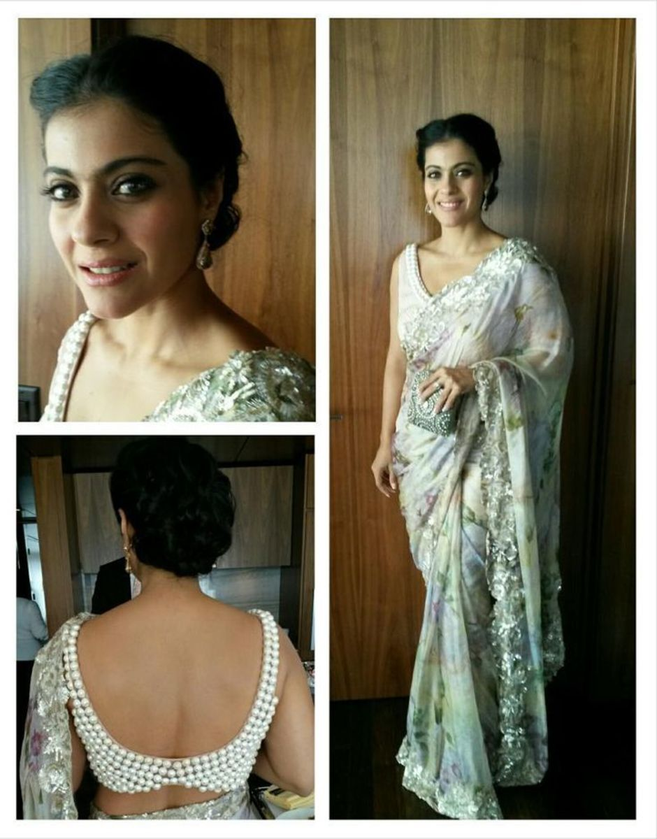 Kajol rocking in sleeveless blouse with big pearl adornment