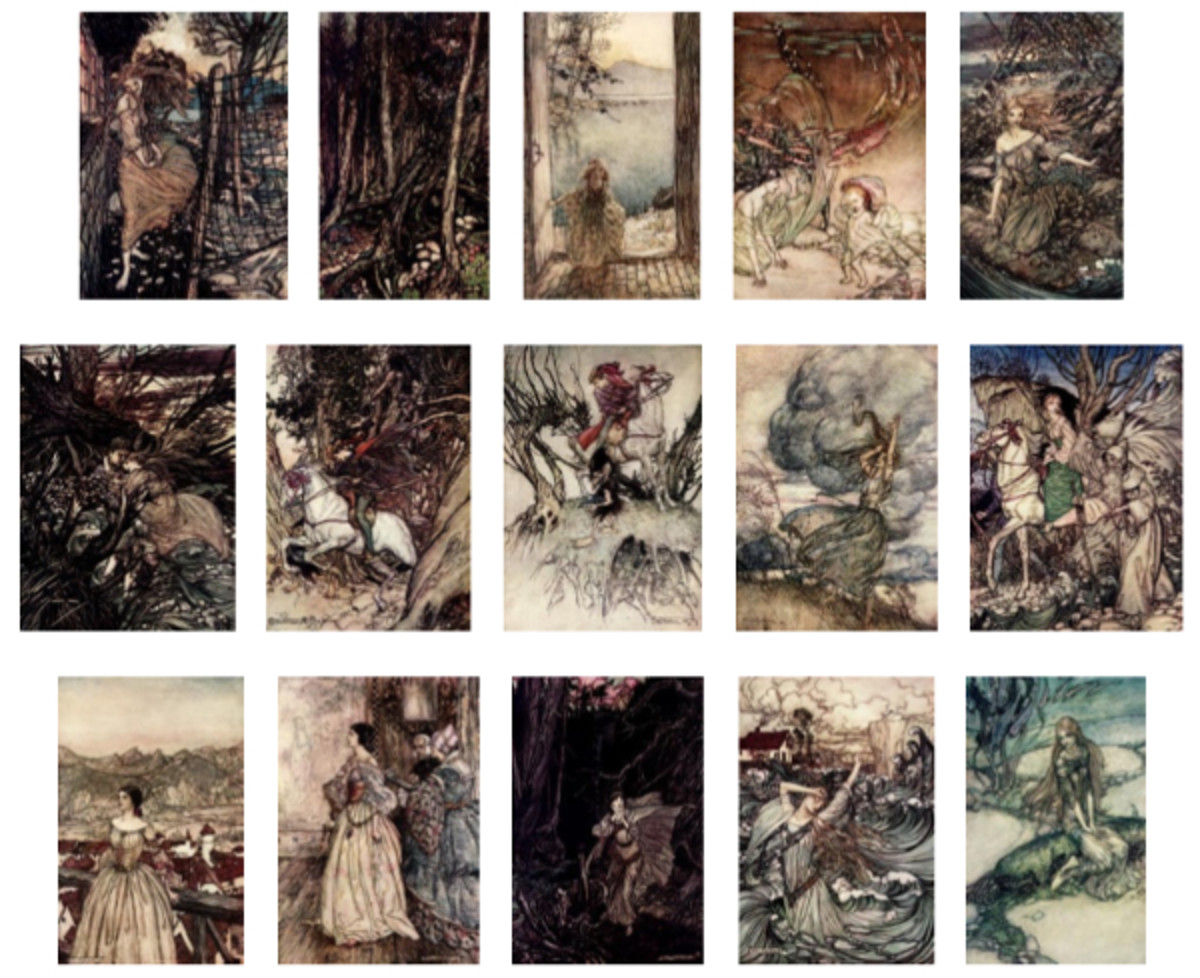 "Here we show each of Arthur Rackham's full-color designs published in ""Undine"" (1909)."