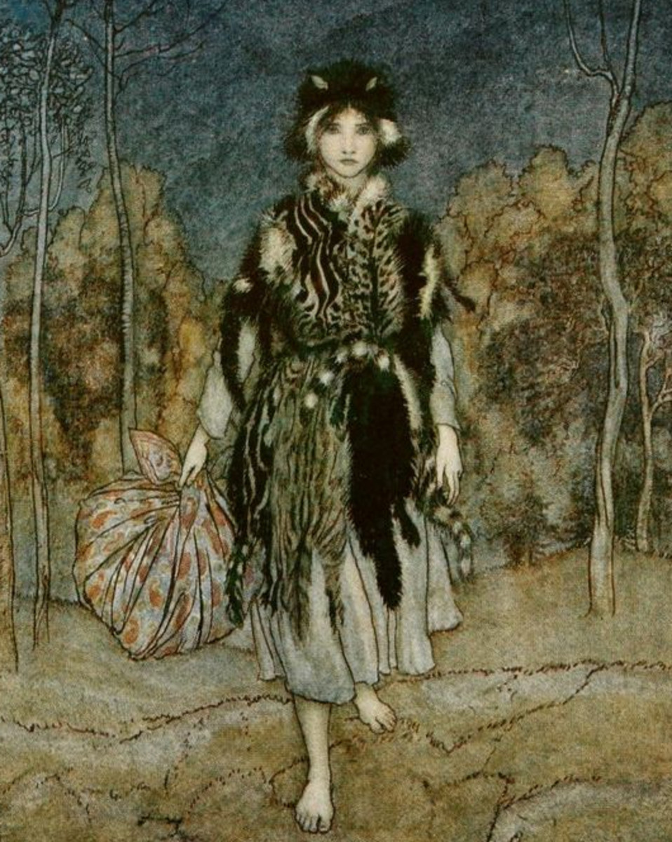 "Here we show a portion of 'Catskin' - a design by Arthur Rackham from his suite of illustrations published in ""English Fairy Tales"" (1918)."
