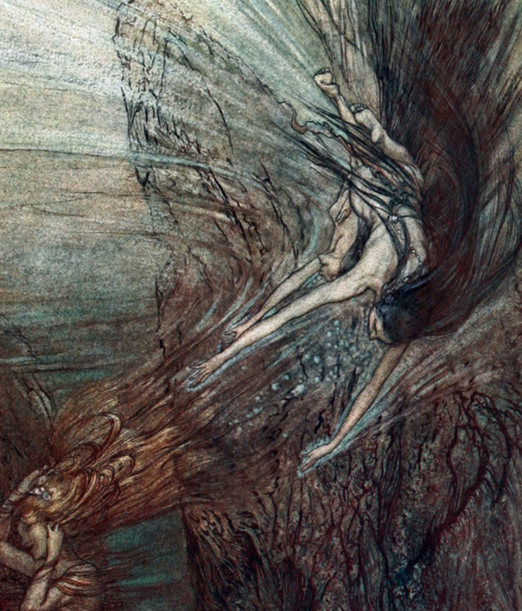 "Here we show a portion of 'The frolic of the Rhine-Maidens' - a design by Arthur Rackham from his suite published in ""The Rhinegold & The Valkyrie"" (1910)."