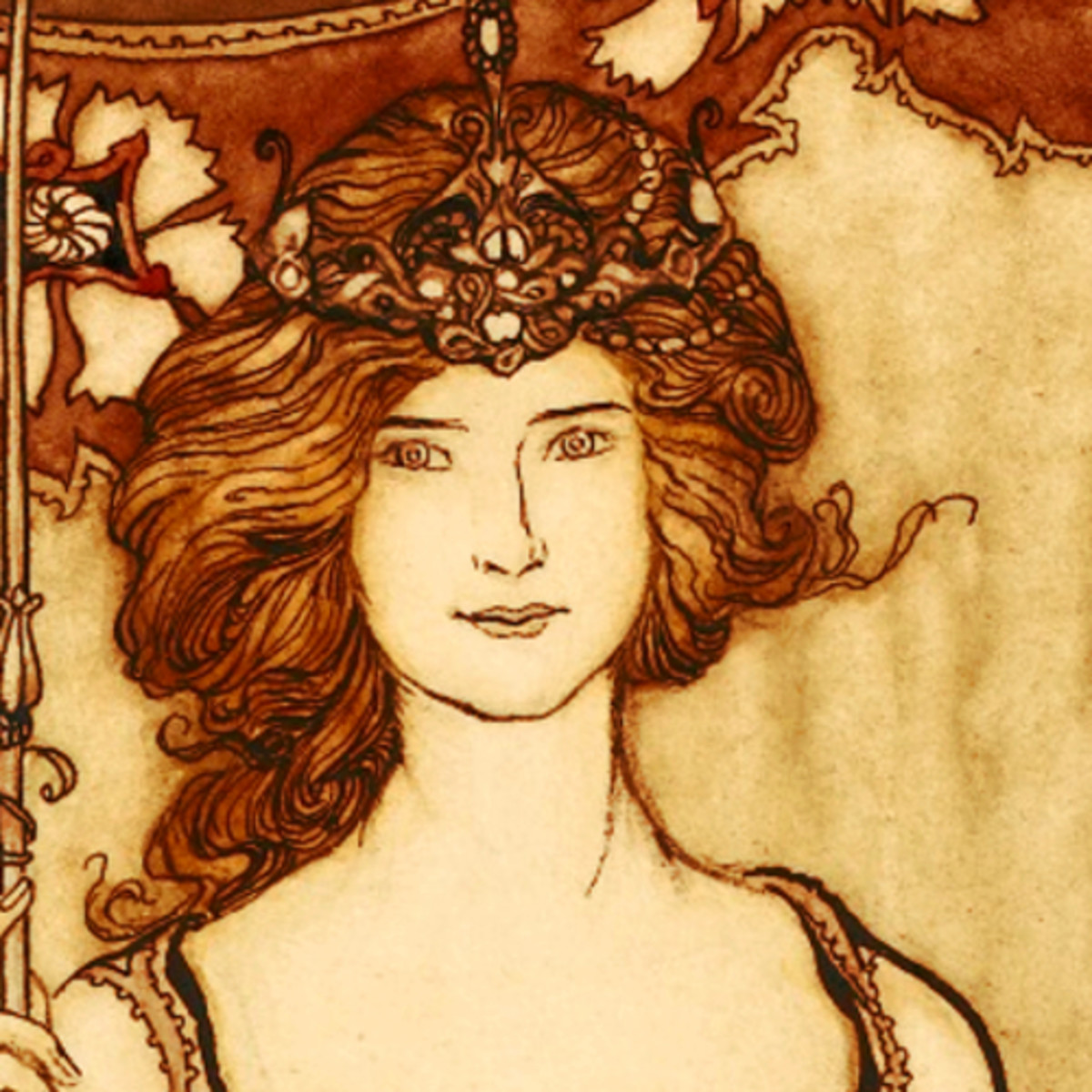 "Here we show a portion of 'Queen Mab, who rules in the Gardens' - it is from the suite by Arthur Rackham published in ""Peter Pan in Kensington Gardens"" (1906)."