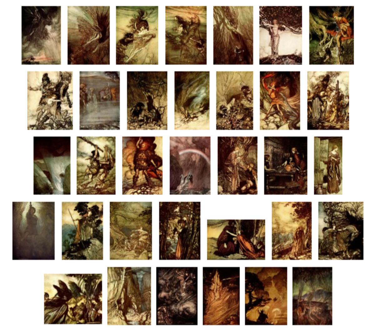 "Here we show each of Arthur Rackham's full-color designs published in ""The Rhinegold & The Valkyrie"" (1910)."