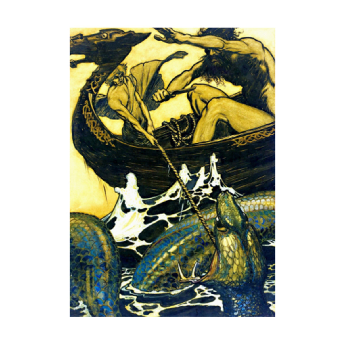 Here we show this design by Arthur Rackham inspired by a classic tale from the Norse Edda of Snorri Sturluson.