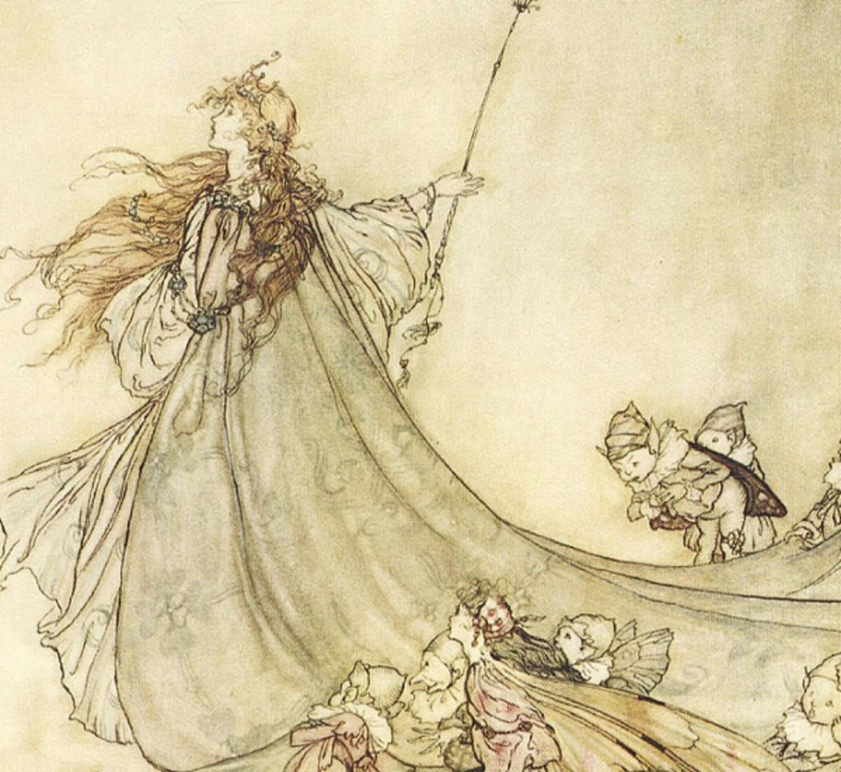 "Here we show a portion of '... Fairies, away! We shall chide downright, if I longer stay ...' - a design by Arthur Rackham from his suite published in ""A Midsummer-Night's Dream"" (1908)."