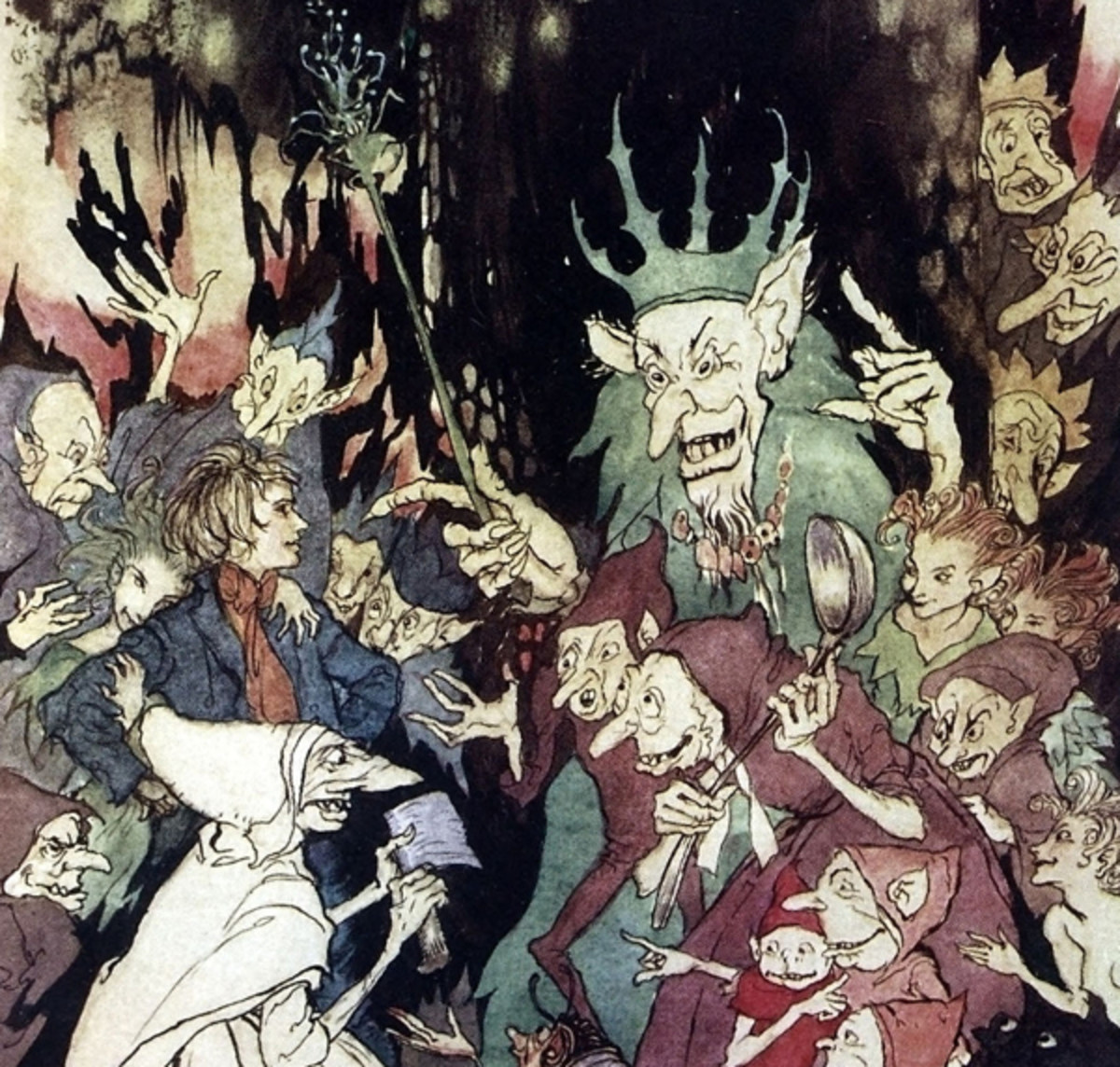 "Here we show a portion of 'Peer before the King of the Trolls' - a design by Arthur Rackham from his suite of illustrations published in ""Peer Gynt"" (1936)."