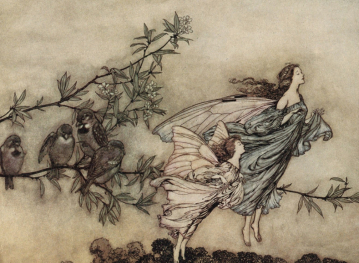 "Here we show a portion of 'The fairies have their tiffs with the birds' - it is from the suite by Arthur Rackham published in ""Peter Pan in Kensington Gardens"" (1906)."