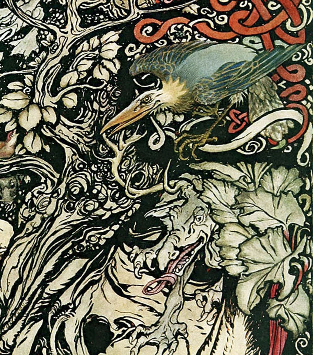 "Here we show a portion of 'Wild and shy and monstrous creatures ranged in her plains and forests' - a design by Arthur Rackham from his suite published in ""Irish Fairy Tales"" (1920)."