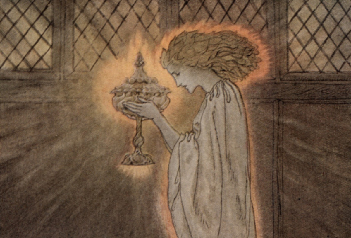 "Here we show a portion of '... a maiden bare in the Sangreal ...' - a design by Arthur Rackham from his suite published in ""The Romance of King Arthur and His Knights of the Round Table"" (1917)."