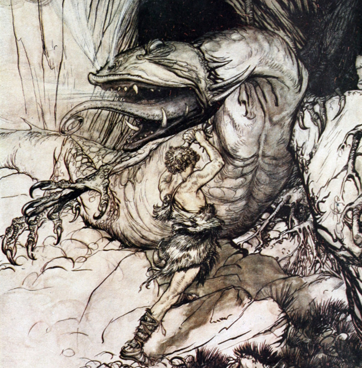 "Here we show a portion of 'Siegfried kills Fafner' - a design by Arthur Rackham from his suite published in ""Siegfried & The Twilight of the Gods"" (1911)."