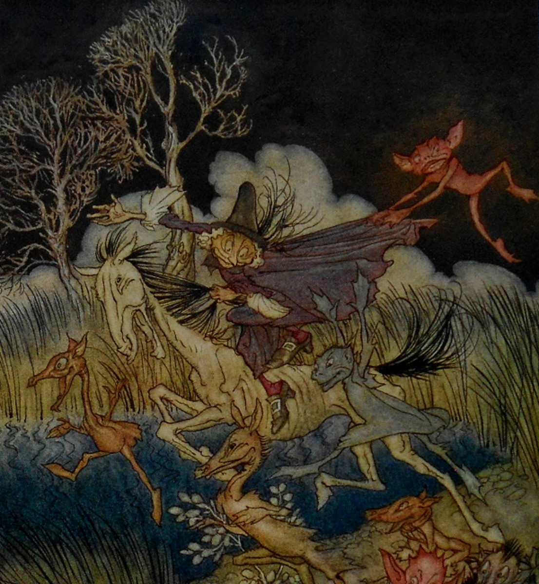 "Here we show a portion of 'The nightmare, with her whole ninefold' - a design by Arthur Rackham from his suite of illustrations published in ""The Legend of Sleepy Hollow"" (1928)."