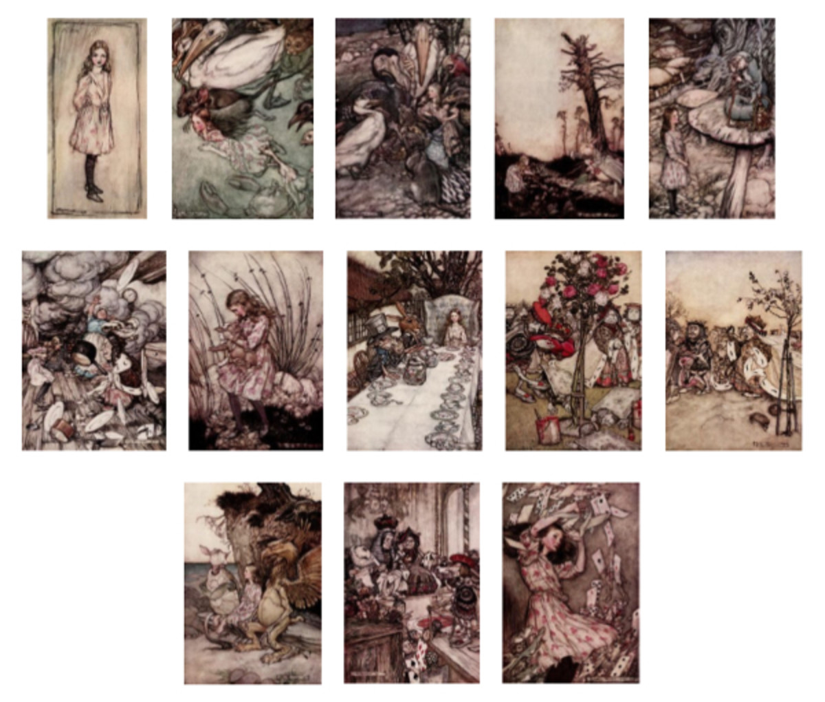 "Here we show each of Arthur Rackham's full-color designs published in ""Alice's Adventures in Wonderland"" (1907)."