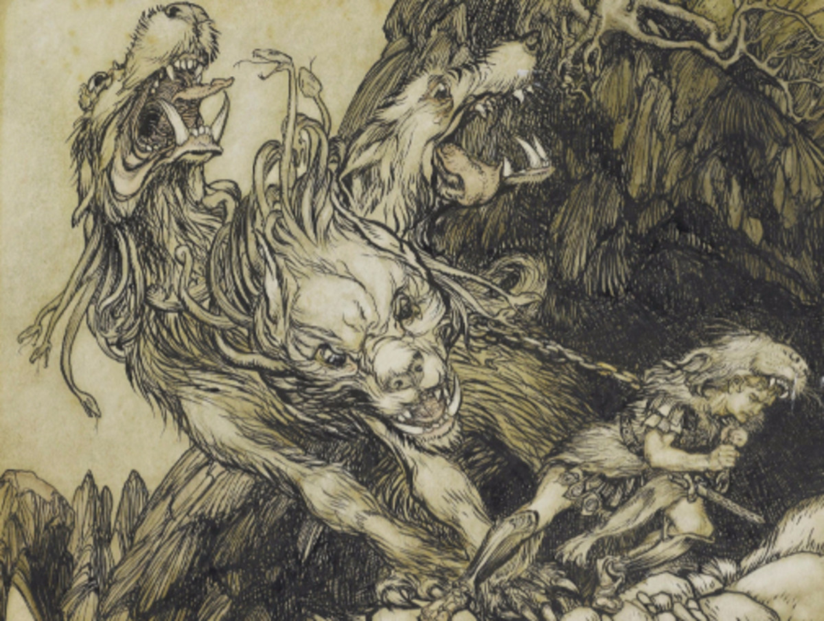 Here we show this design by Arthur Rackham depicting the final - and most difficult - of Hercules' tasks, the kidnap of Cerberus.