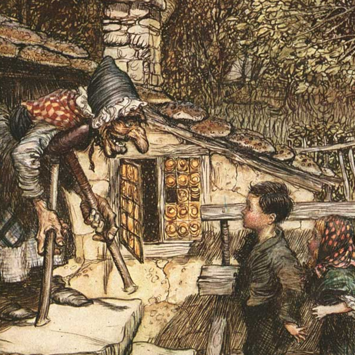 "Here we show a portion of 'All at once the door opened and an old, old Woman, supporting herself on a crutch, came hobbling out' - a design by Arthur Rackham from his suite published in ""The Fairy Tales of the Brothers Grimm"" (1909)."