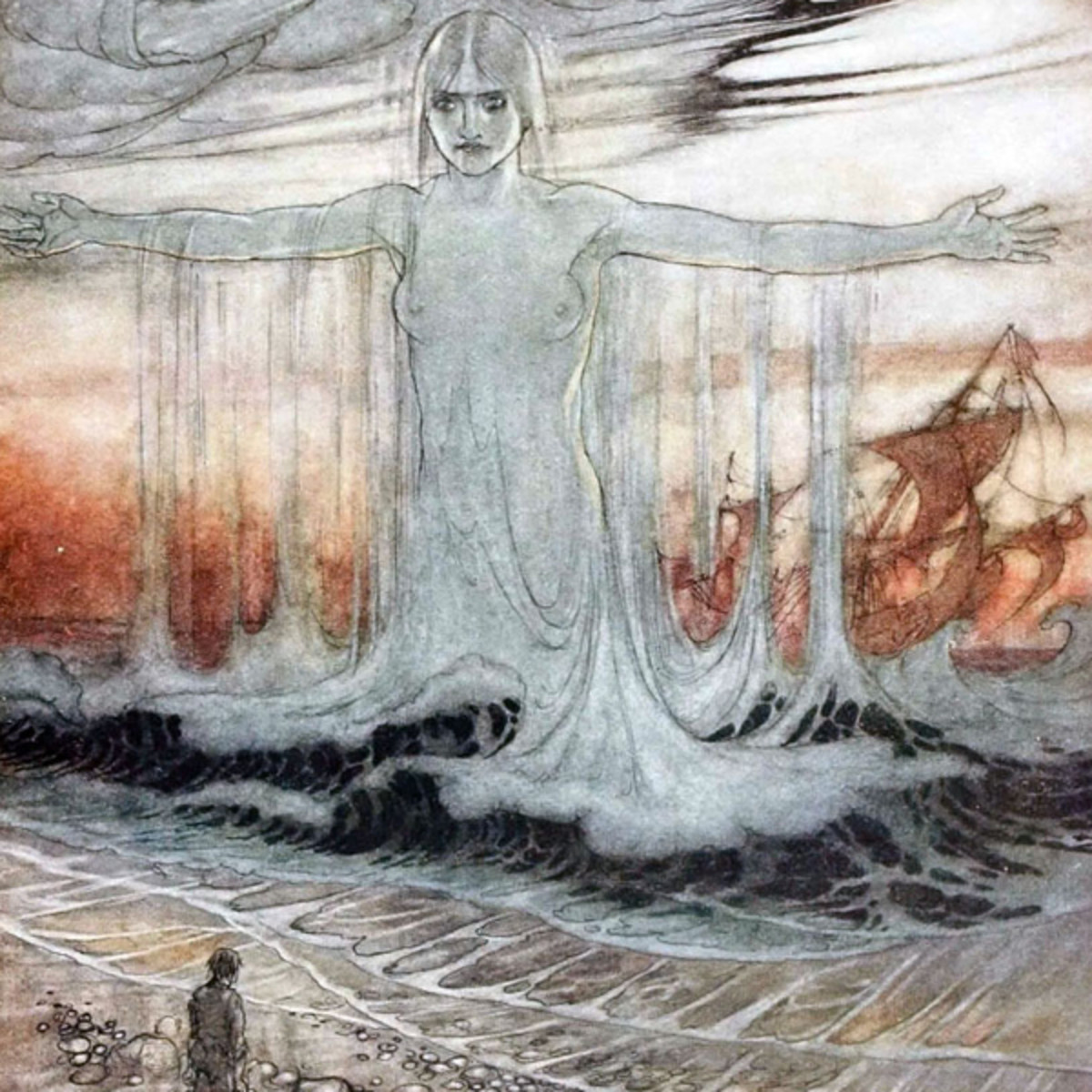 "Here we show a portion of 'The Shipwrecked Man and the Sea' - a design by Arthur Rackham from his suite published in ""Aesop's Fables"" (1912)."