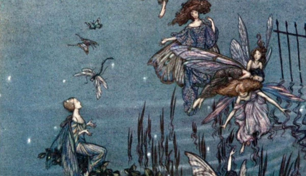 "Here we show a portion of 'The fairies of the Serpentine' - it is from the suite by Arthur Rackham published in ""Peter Pan in Kensington Gardens"" (1906)."
