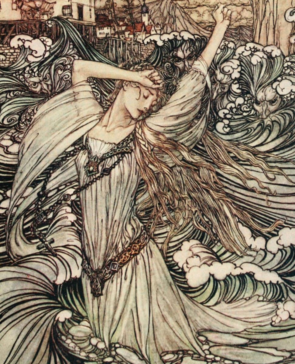 "Here we show a portion of 'Soon she was lost to sight in the Danube' - a design by Arthur Rackham from a suite published in ""Undine"" (1909)."