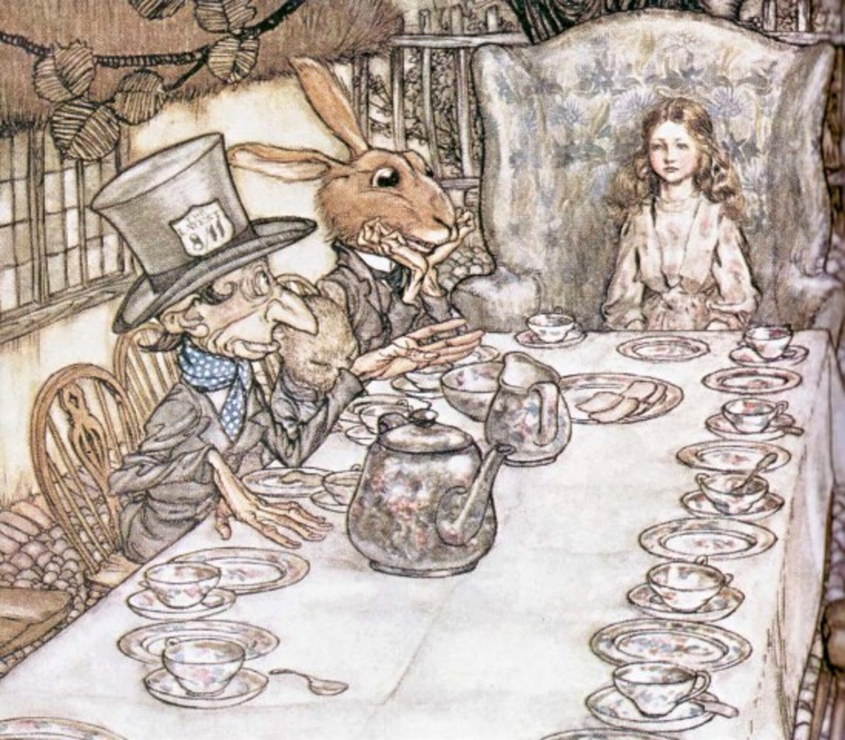 "Here we show a portion of 'A Mad Tea Party' - a design by Arthur Rackham from his suite published in ""Alice's Adventures in Wonderland"" (1907)."