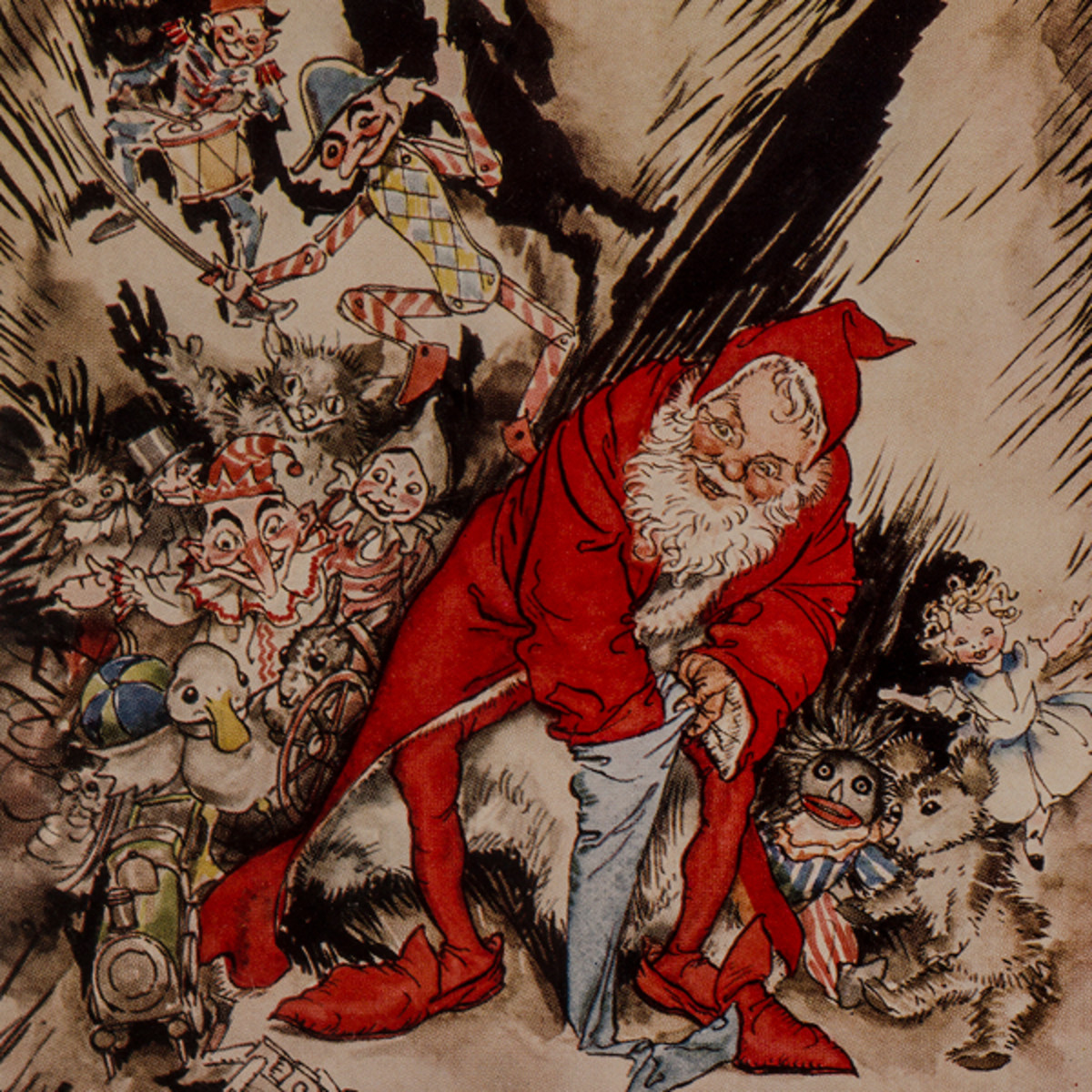 "Here we show a portion of 'He spoke not a word, but went straight to his work ...' - a design by Arthur Rackham from his suite of illustrations published in ""The Night Before Christmas"" (1931)."