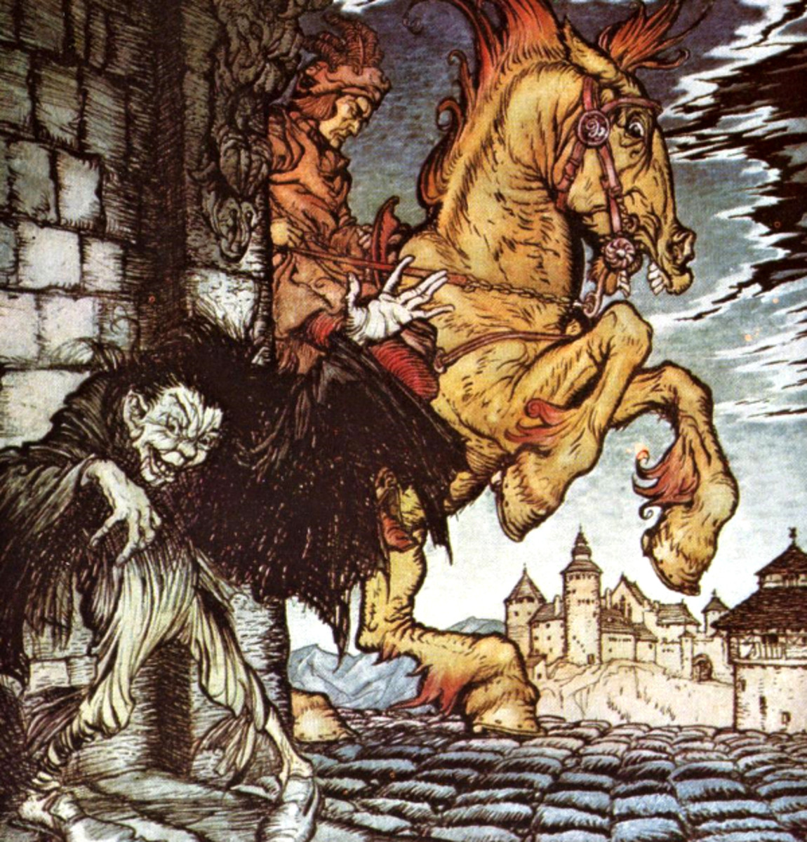 "Here we show a portion of 'Metzengerstein' - a design by Arthur Rackham from his suite of illustration published in ""Poe's Tales of Mystery and Imagination"" (1935)."