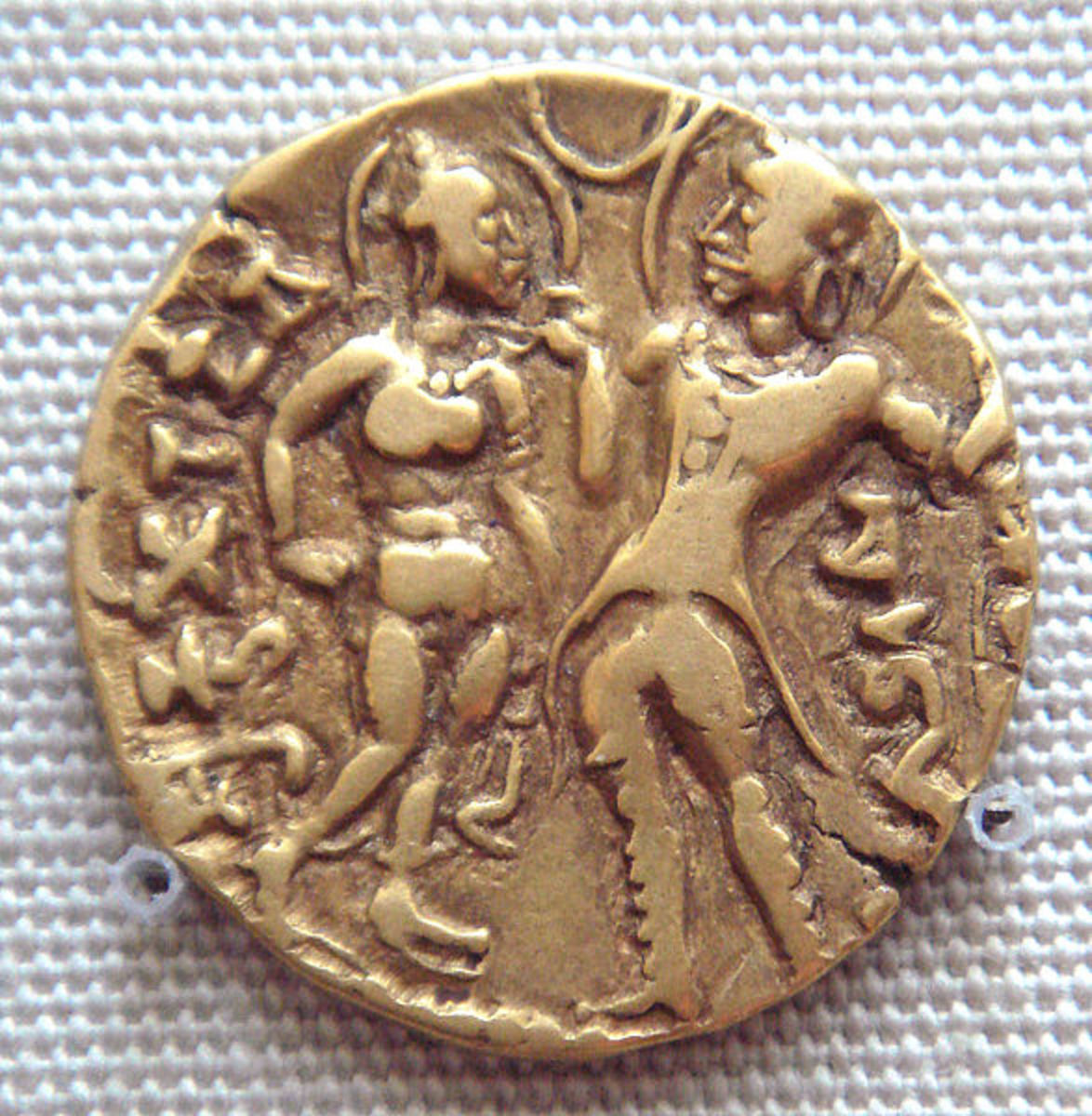 Coin of Chandragupta I depicting the king with his queen.