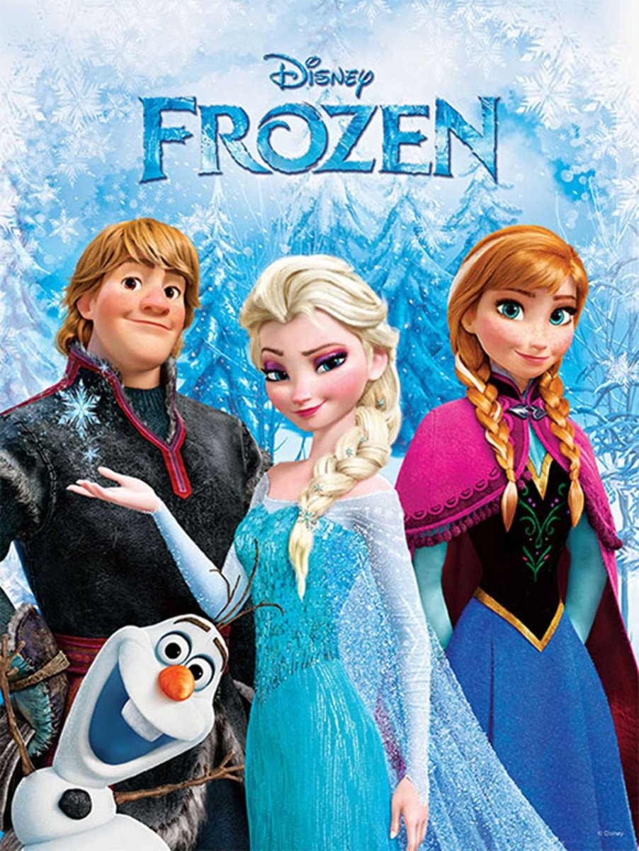 A poster of Elsa, the Queen of the Kingdom of Arendelle, from Disney's Frozen movie. You can also see her younger sister, Anna, Olaf, the snowman, and Kristoff in this pic