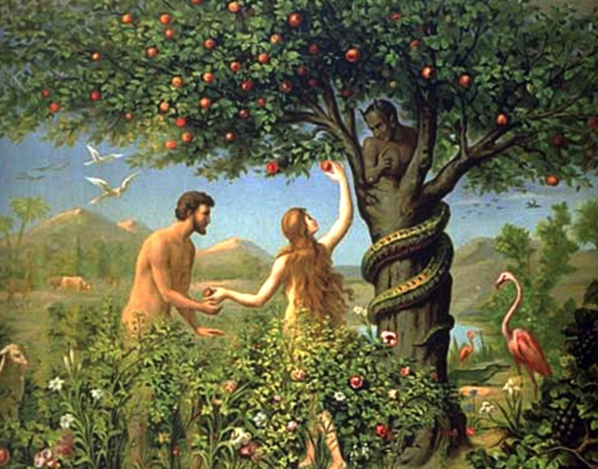 Adam and Eve take the fruit.