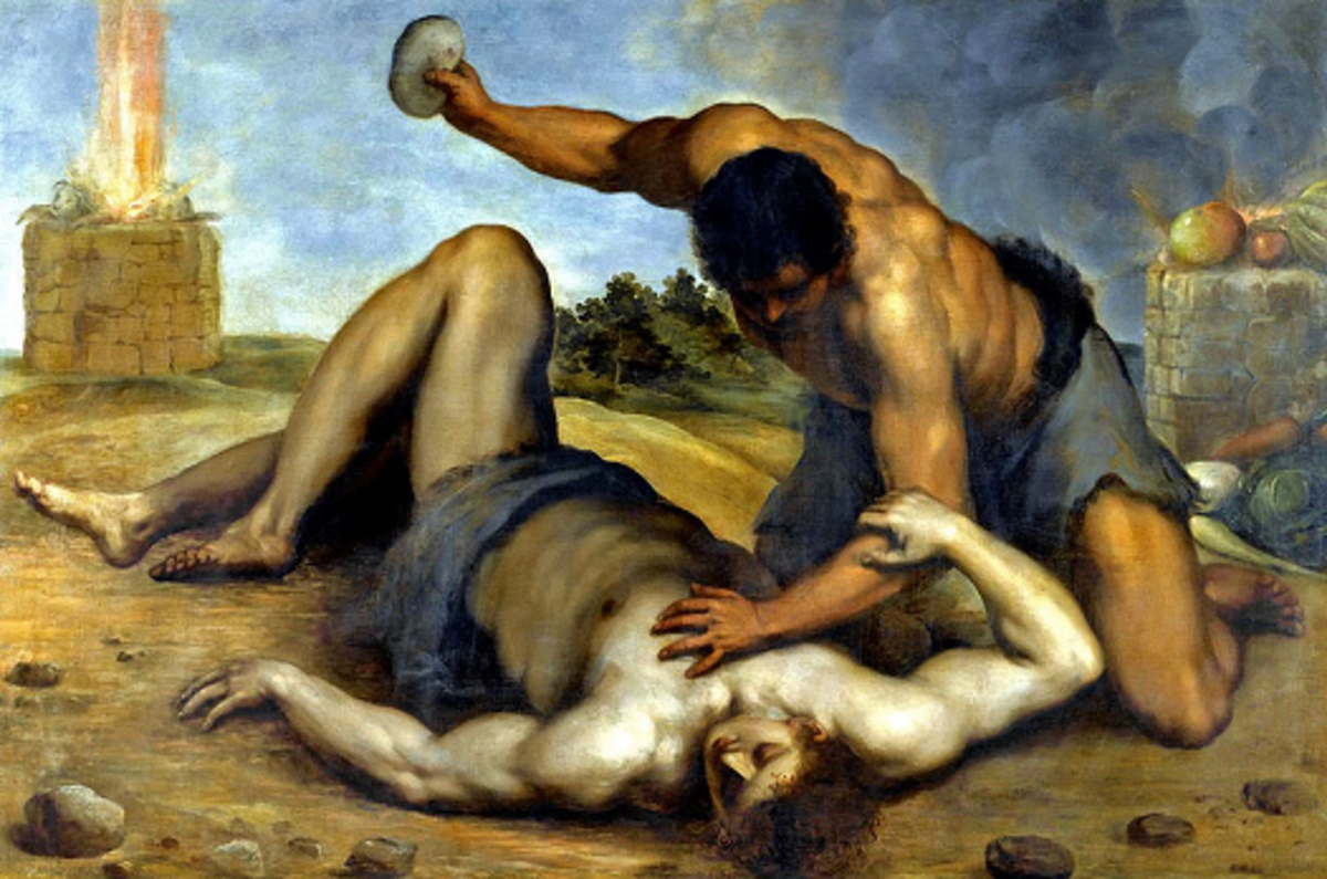 Cain stones Abel to death